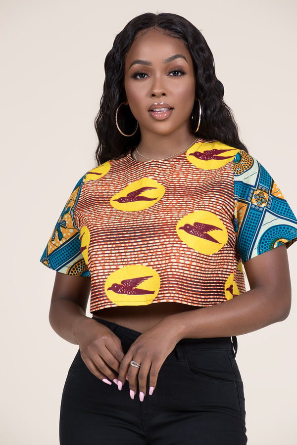 Grass-fields Tops African Print Faizah Crop Top
