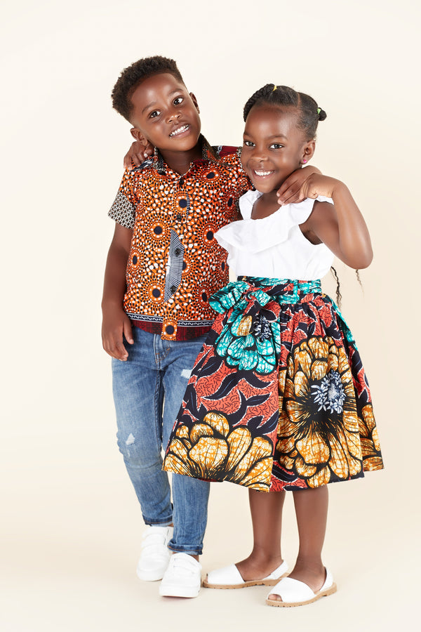 Grass-Fields Tops African Print Ganiru Kid's Shirt