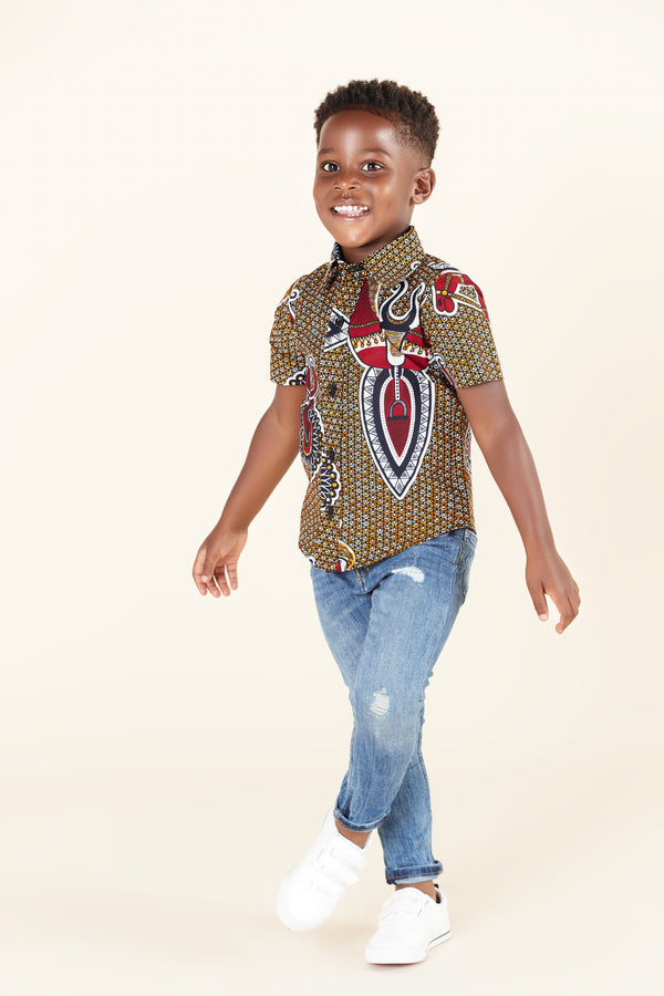 Grass-Fields Tops African Print Harvey Kid's Shirt