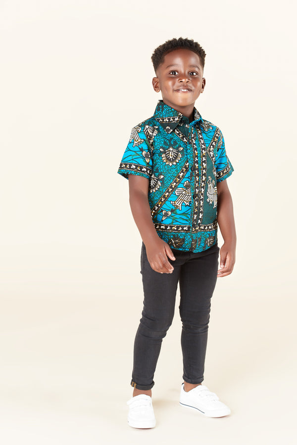 Grass-Fields Tops African Print Hassan Kid's Shirt
