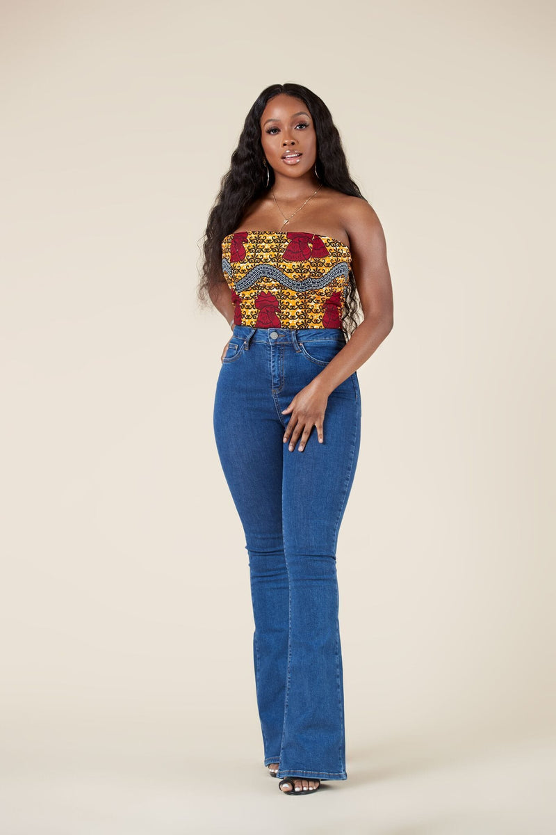Grass-Fields Tops African Print Iniko Crop Top