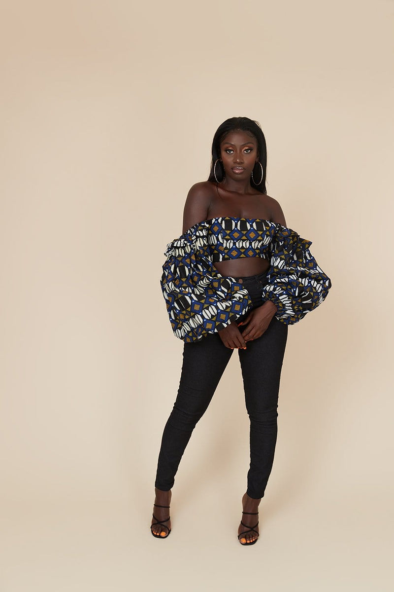 Grass-Fields Tops African Print Juliana Crop Top