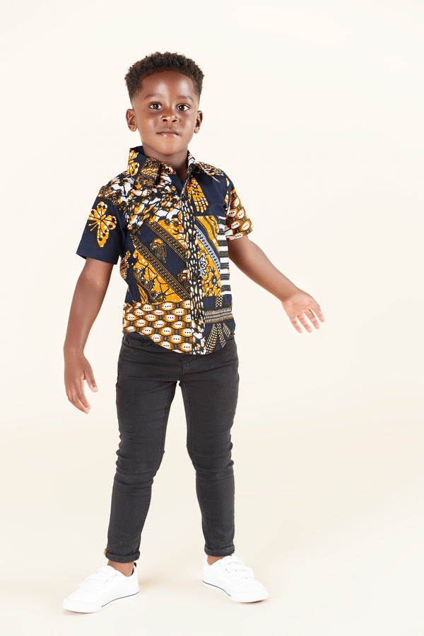 Grass-Fields Tops African Print Kadon Kid's Shirt
