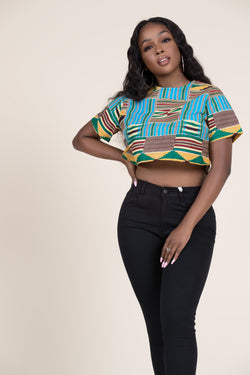 Grass-fields Tops African Print Kianga Crop Top