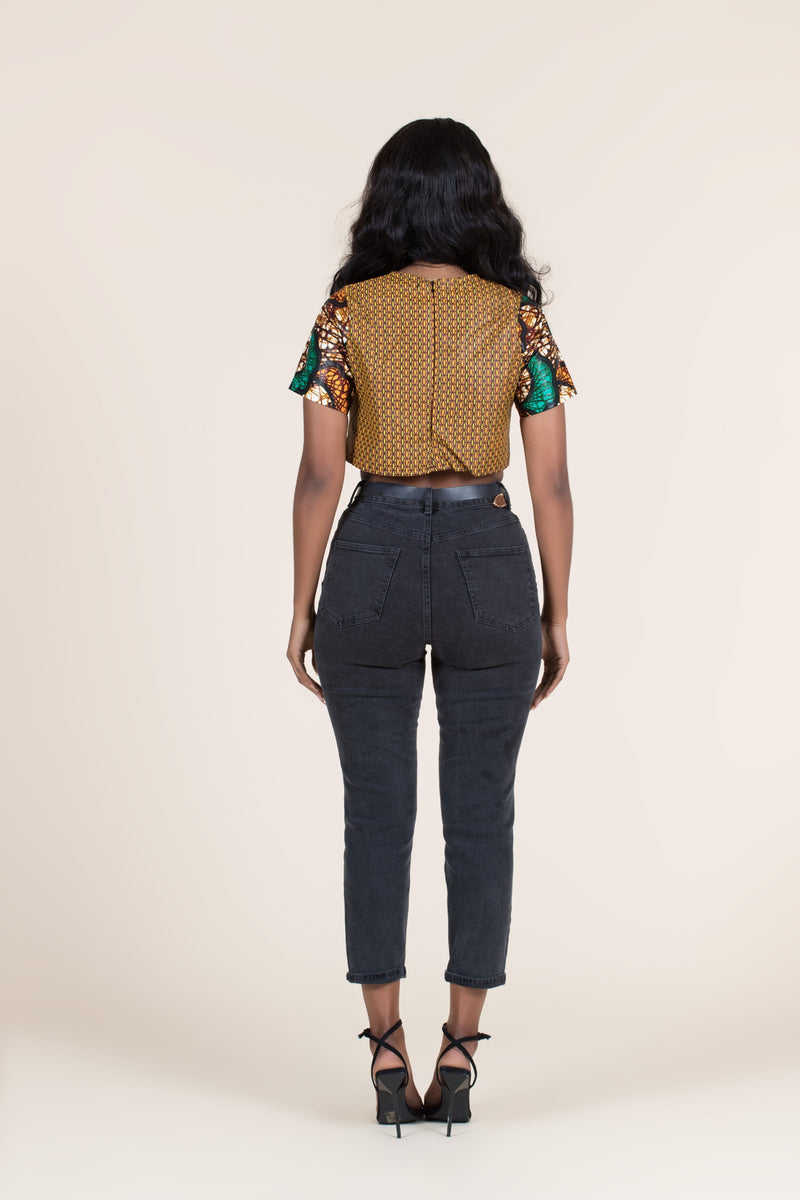 Grass-fields Tops African Print Lesedi Crop Top