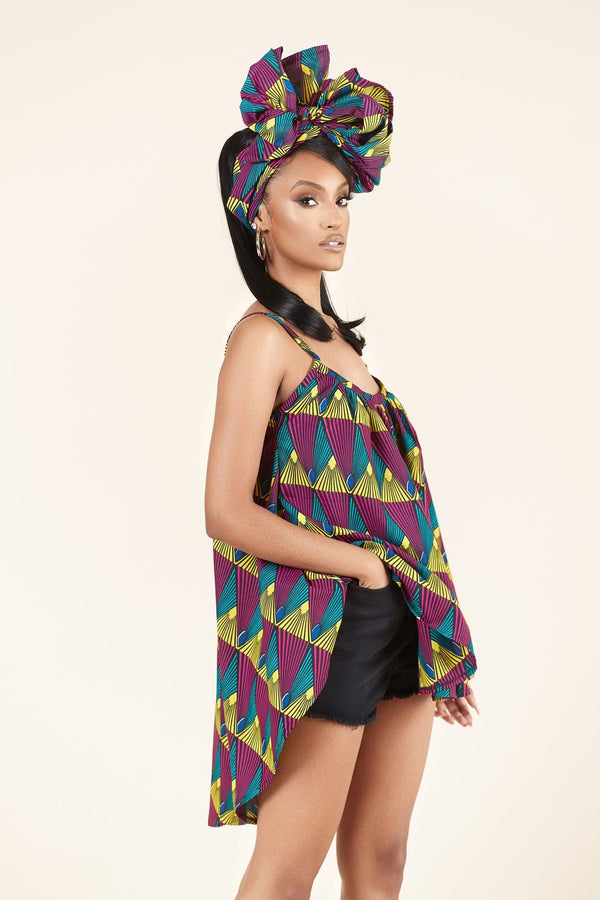 Grass-fields Tops African Print Linda Flared Top