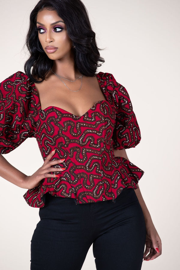 Grass-fields Tops African Print Lulana Top
