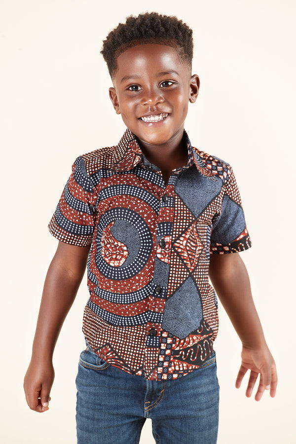 Grass-Fields Tops African Print Maduka Kid's Shirt