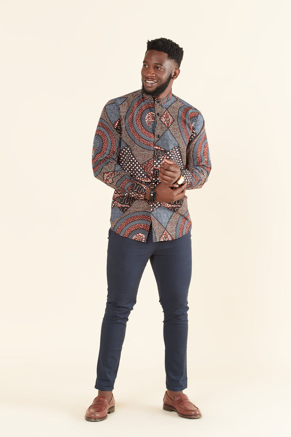 Grass-fields Tops African Print Maduka Shirt