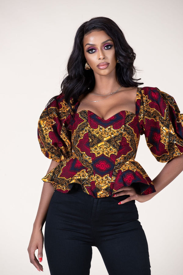 Grass-fields Tops African Print Maizah Top