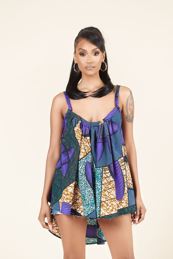 Grass-fields Tops African Print Maya Flared Top