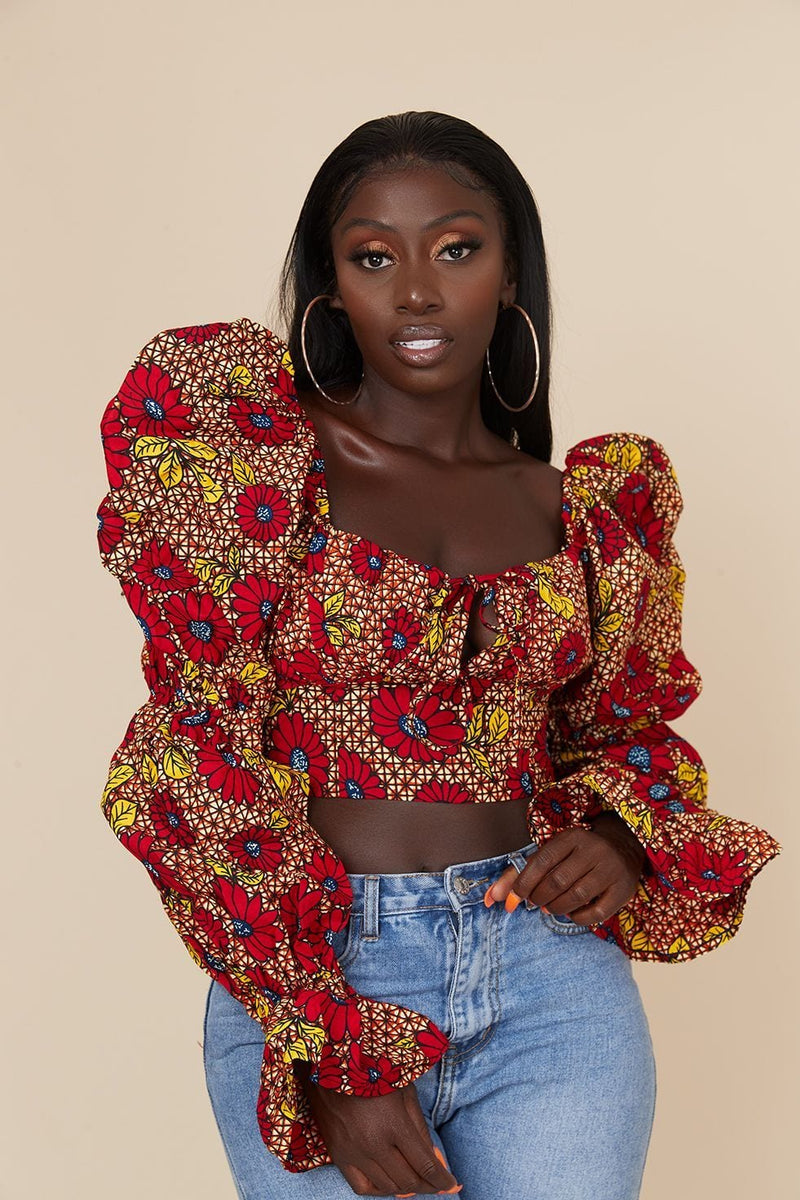 Grass-Fields Tops African Print Mikenna Crop Top