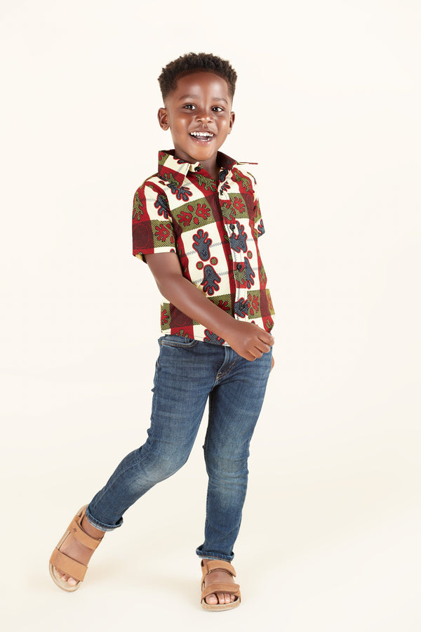 Grass-Fields Tops African Print Miles Kid's Shirt