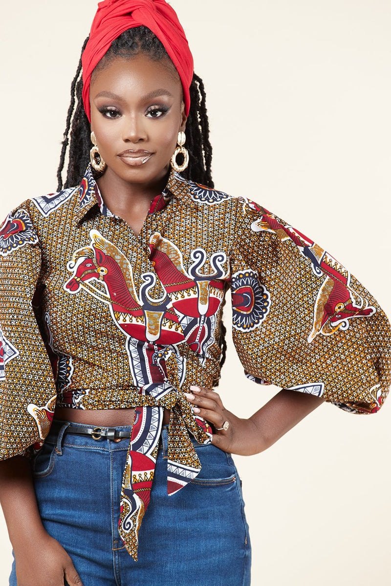 Grass-Fields Tops African Print Nadege Crop Top