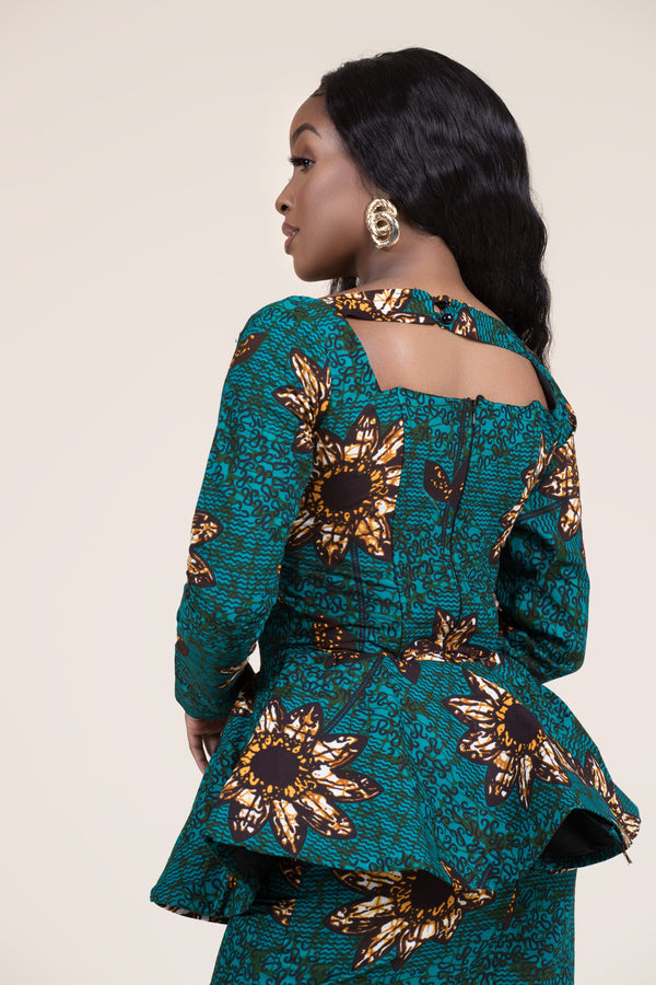Grass-fields Tops African Print Nayo Peplum Top