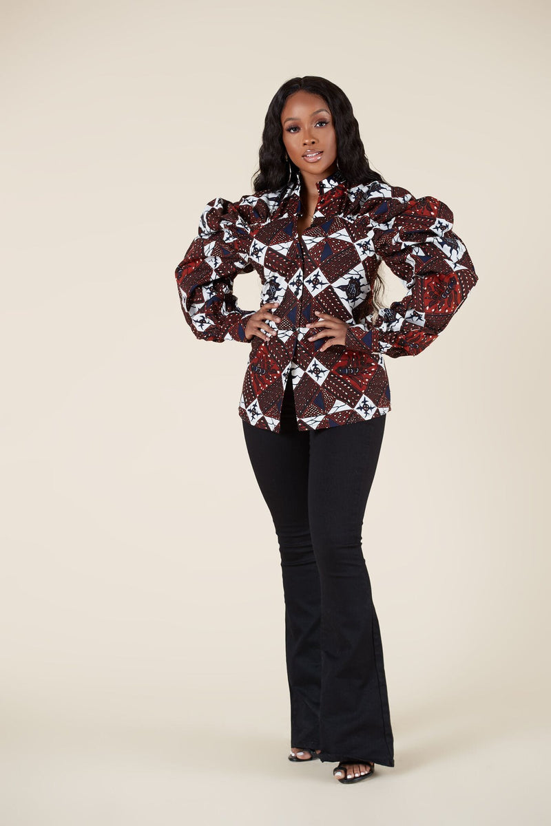 Grass-Fields Tops African Print Neo Shirt