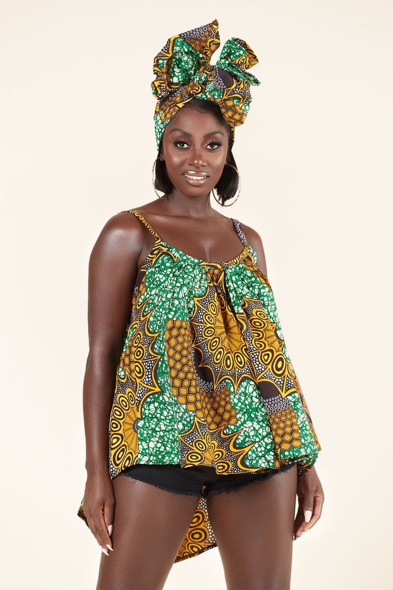 African Print Okoh Flared Top