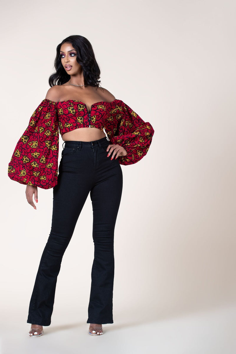 Grass-Fields Tops African Print Olabisi Crop Top