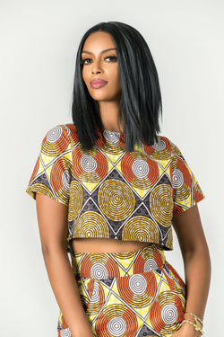 Grass-fields Tops African Print Pendeza Crop Top