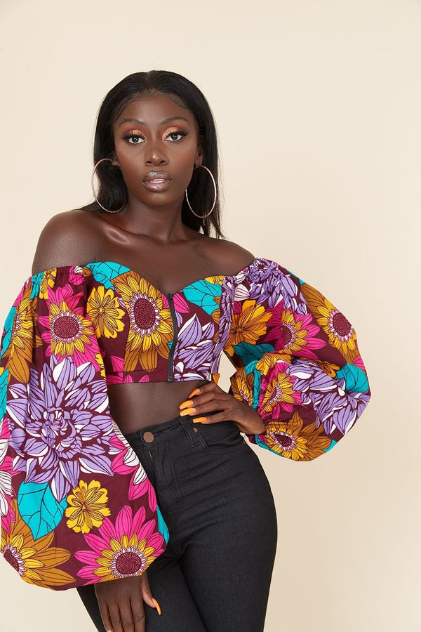 Grass-Fields Tops African Print Rudo Crop Top