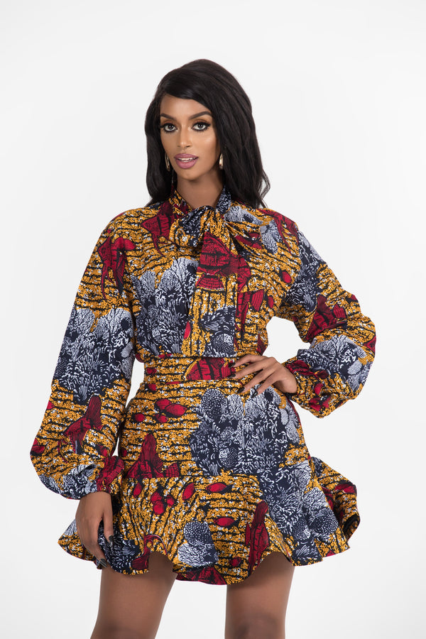 Grass-Fields Tops African Print Sabria Blouse Top