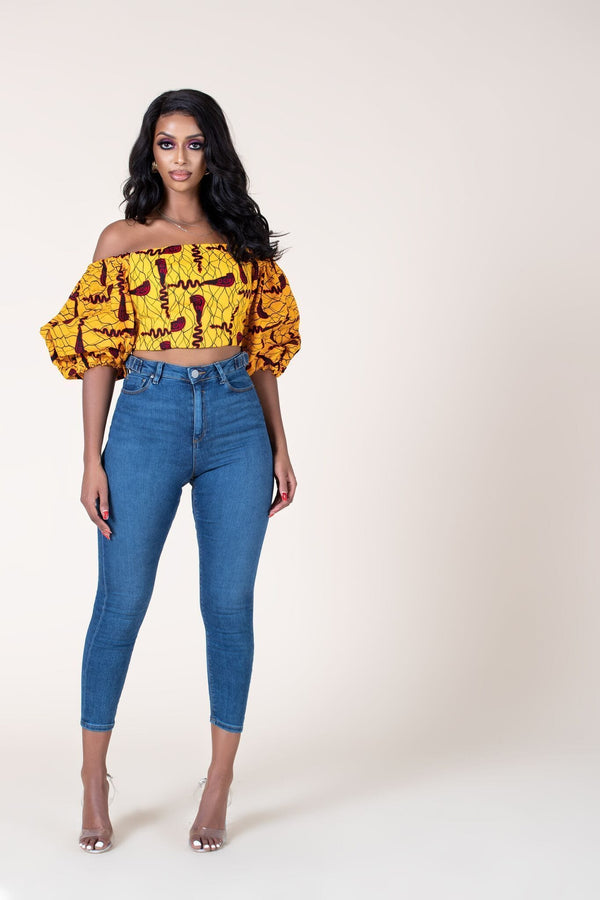 Grass-Fields Tops African Print Semira Crop Top
