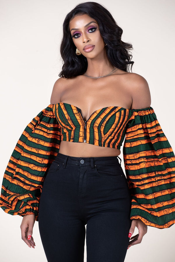 Grass-Fields Tops African Print Siyanda Crop Top