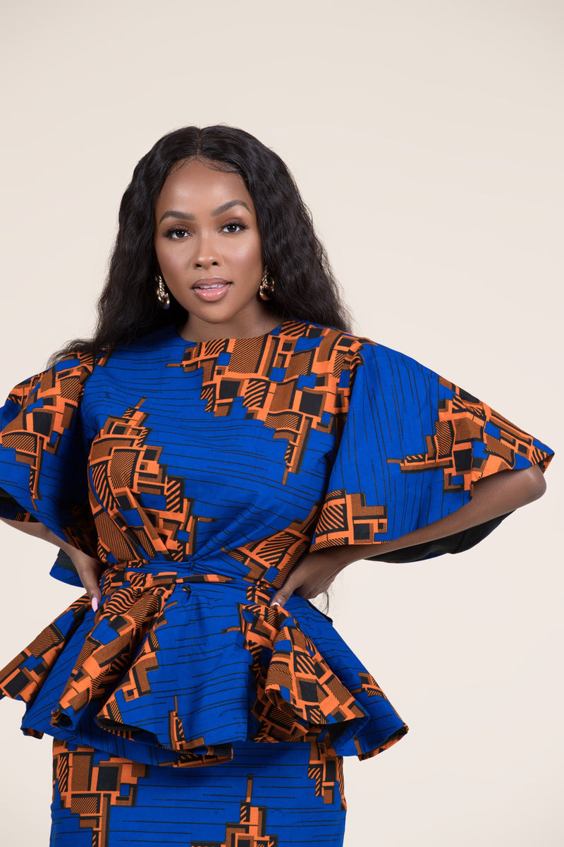 Grass-fields Tops African Print Thandi Peplum Top