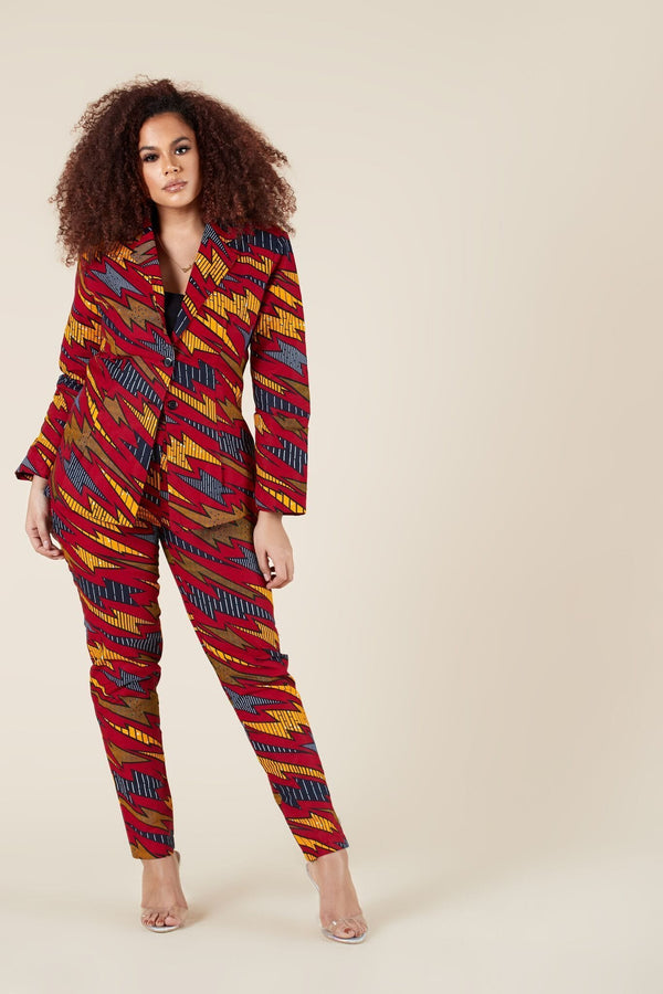 Grass-Fields Tops and Blazers African Print Ava Blazer