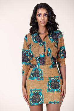 Grass-Fields Tops and Blazers African Print Awa Shirt
