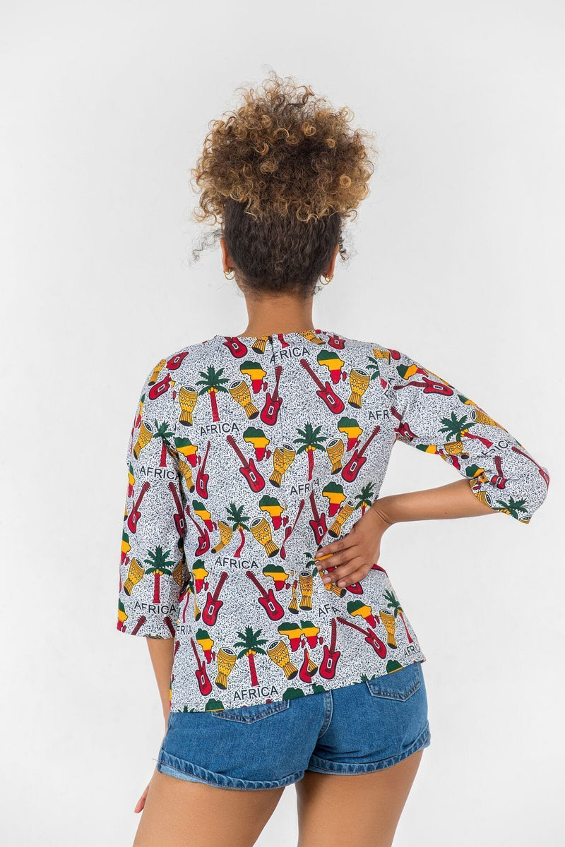 Grass-Fields Tops and Blazers African Print Balla Top
