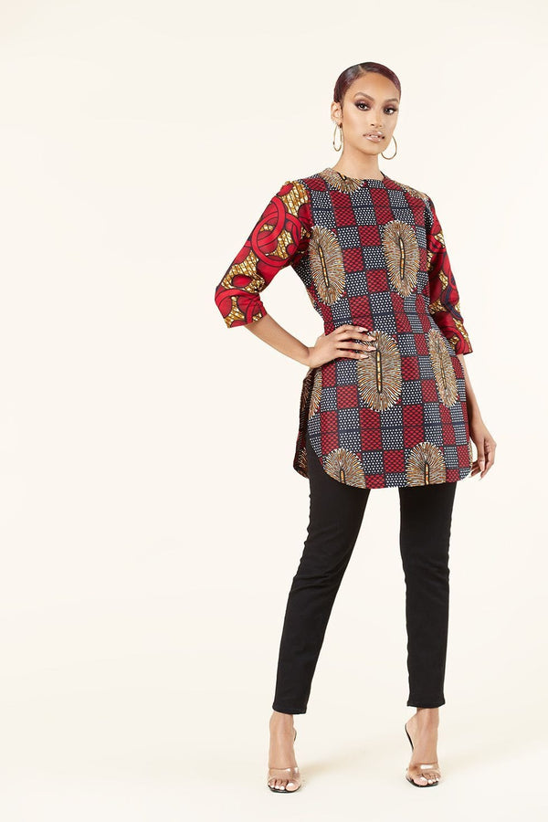 Grass-Fields Tops and Blazers African Print Doreen Top