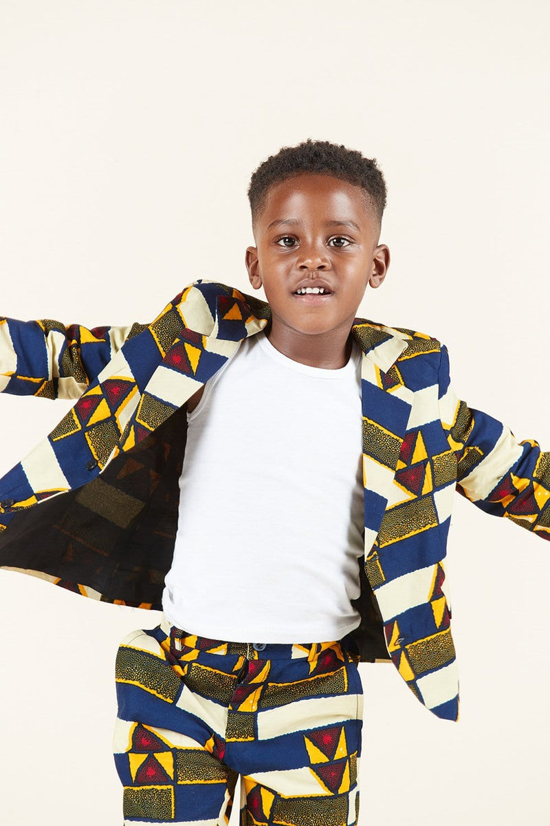 Grass-Fields Tops and Blazers African Print Elvis Kid's Blazer