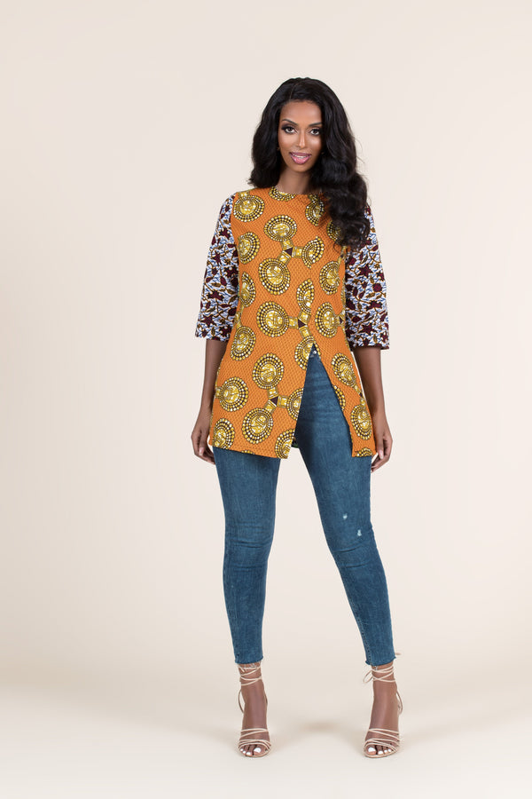 Grass-Fields Tops and Blazers African Print Hidi Top