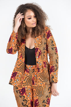 Grass-Fields Tops and Blazers African Print Kanika Blazer