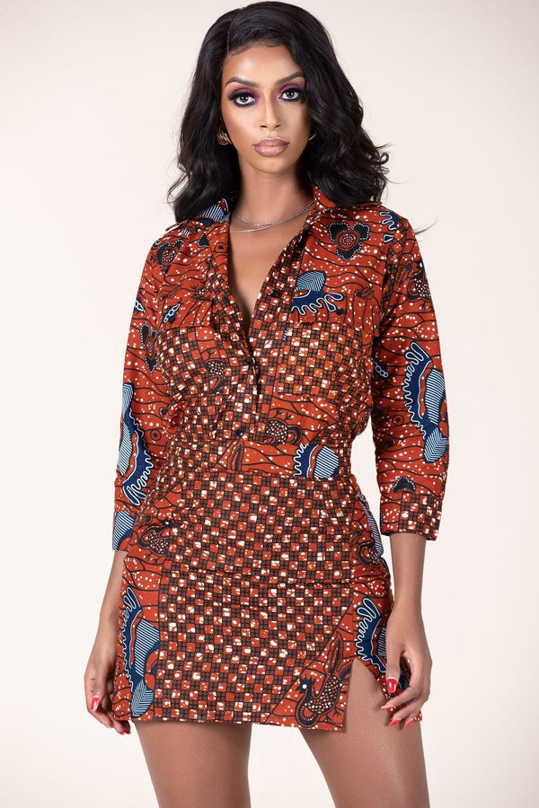 Grass-Fields Tops and Blazers African Print Kelsie Shirt