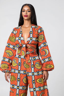 Grass-Fields Tops and Blazers African Print Laurette Top