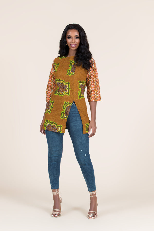 Grass-Fields Tops and Blazers African Print Lethabo Top