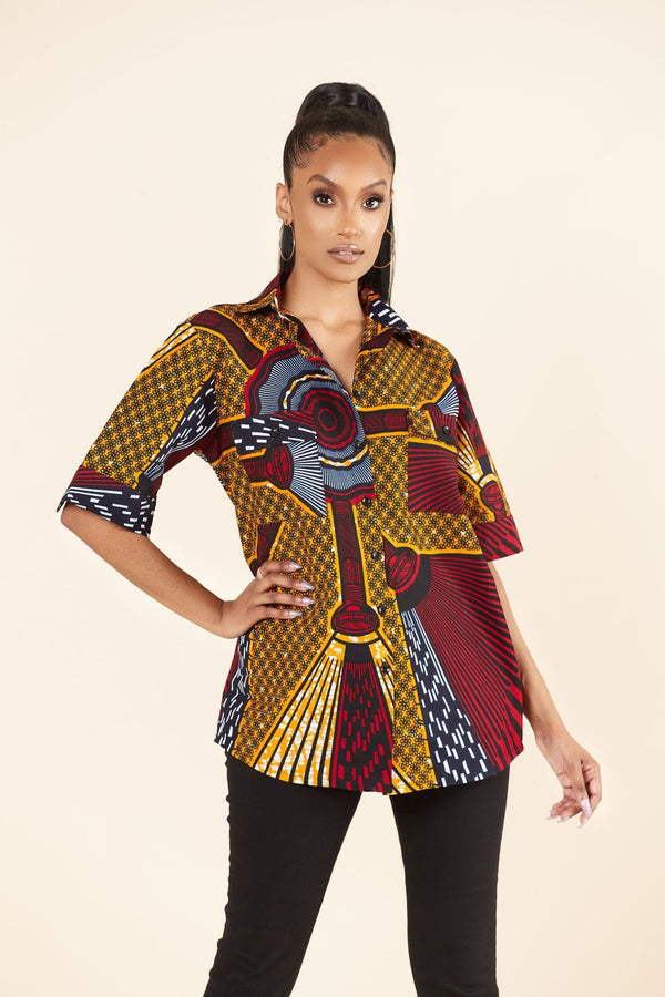 Grass-Fields Tops and Blazers African Print Mimi Shirt