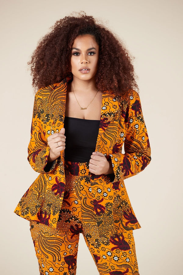 Grass-Fields Tops and Blazers African Print Nakia Blazer