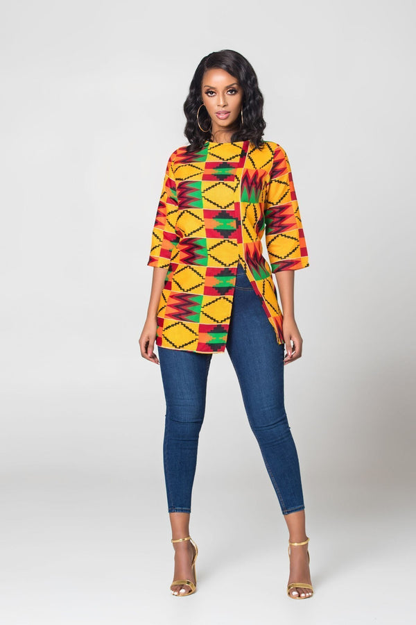 Grass-Fields Tops and Blazers African Print Zayi Kente Top