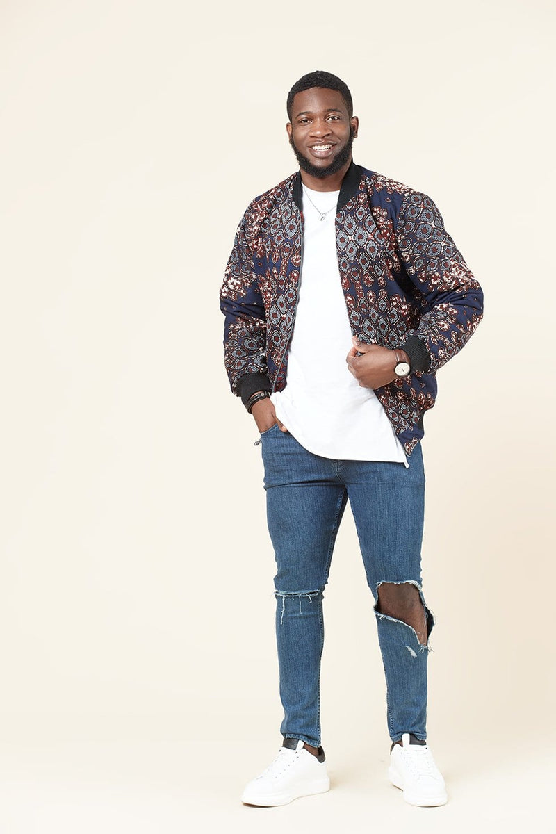 Grass-Fields Tops and Blazers Akachi Men's Reversible Bomber Jacket