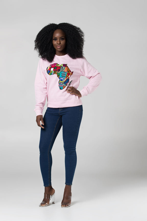 Grass-Fields Tops and Blazers Baby pink African Map Sweatshirt
