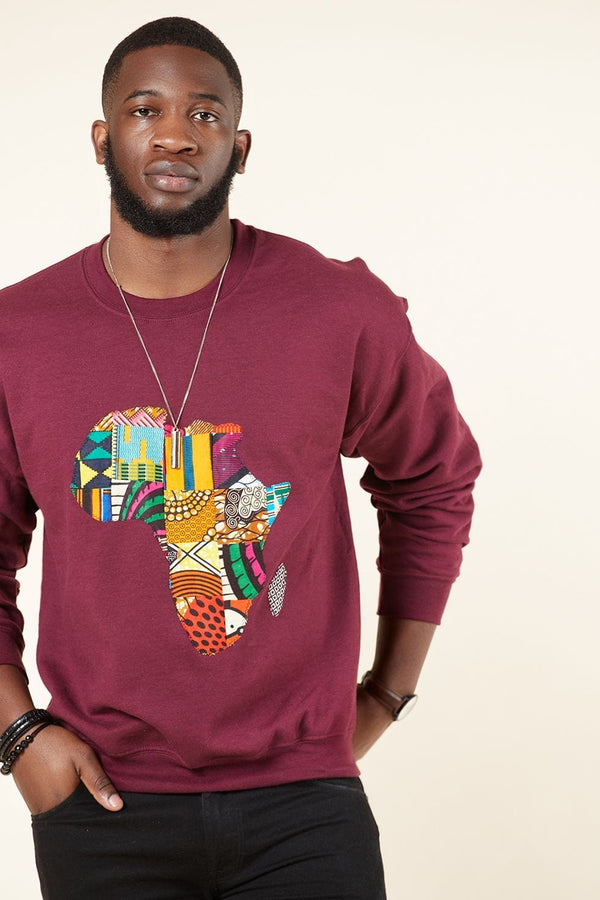 Grass-Fields Tops and Blazers Burgundy African Map Men's Sweatshirt