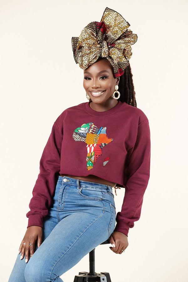 Grass-Fields Tops and Blazers Cropped Burgundy African Map Sweatshirt