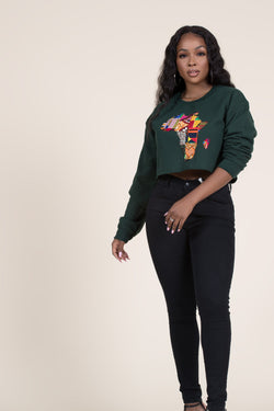 Grass-Fields Tops and Blazers Cropped Green African Map Sweatshirt