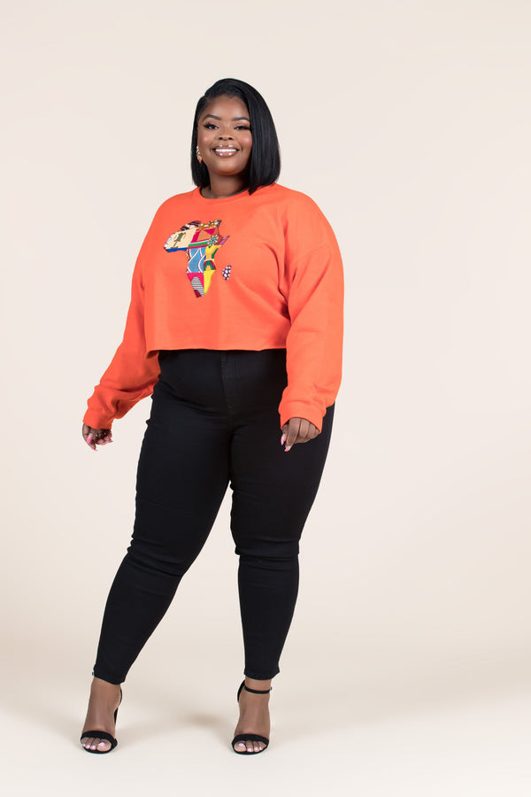 Grass-Fields Tops and Blazers Cropped Orange African Map Sweatshirt