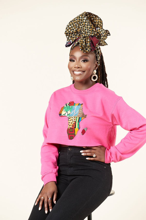 Grass-Fields Tops and Blazers Cropped Pink African Map Sweatshirt