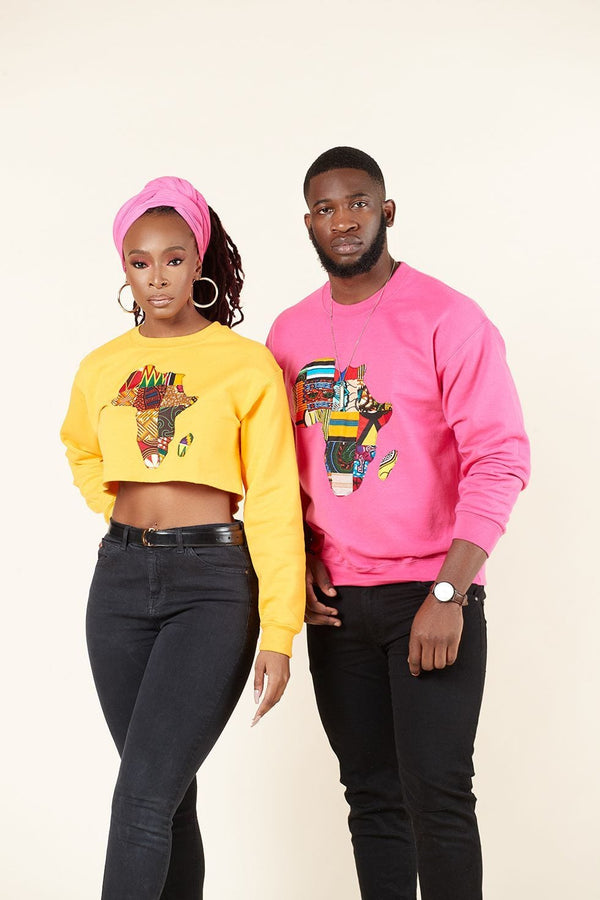 Grass-Fields Tops and Blazers Cropped Yellow African Map Sweatshirt