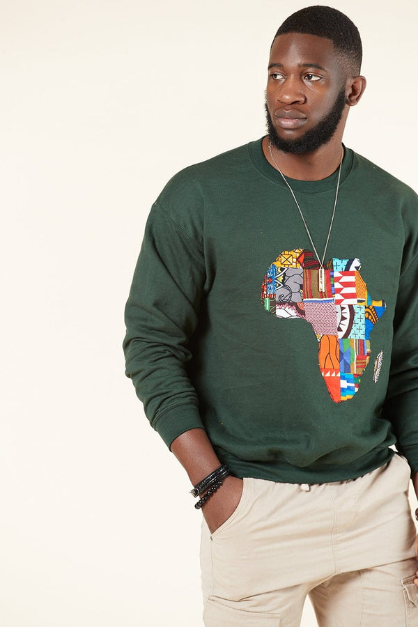 Grass-Fields Tops and Blazers Green African Map Men's Sweatshirt